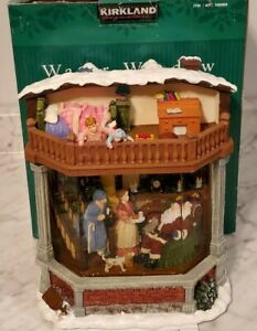 Kirkland Water Window Musical Christmas Song Light Up House Globe w Santa NEW