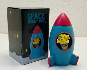 SPACE ROCKET SHAPED MONEY BOX PIGGY BANK WITH DOG HEAD STICK OUT NOVELTY GIFT
