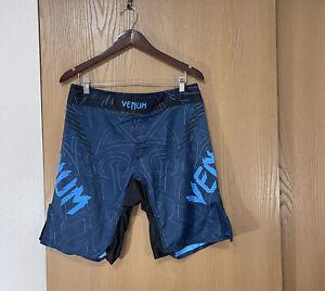Venum Boxing MMA Training Fighting Blue Black Shorts Size 33 Medium