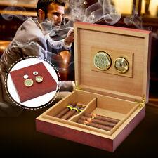 20-25 Cedar Wood Lined Cigar Humidor Storage Case Box + Humidifier Hygrometer