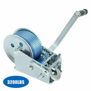 Paradise Harbor 600 Lbs Hand Winch 26 FT Strap Hand Crank Winch Trailer Winch RV Hand Winch