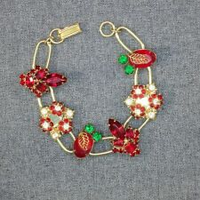 Red Green and Crystal Bracelet Handmade UpCycled from Earrings One of A Kind