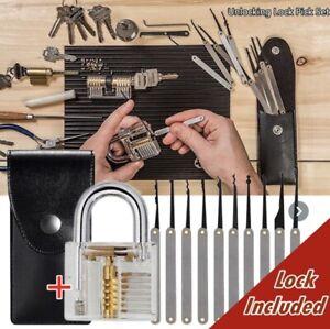 24Pcs Lock Unlocking Picking Tool Set W/ Transparent Practice Training Lock