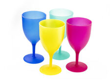 4 Pcs Reusable Picnic Goblets Set in Assorted Colors - Plastic Wine Cups
