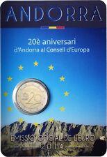 Andorra 2 Euro Münze Europarat 2014 Zum 20. Jahrestag des Beitritt in CoinCard