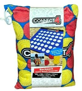"""Connect 4 Backpack Game Beach Towel Set 58""""x58"""" Tote Bag & Game Pieces"""
