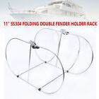 """11"""" Stainless Steel Folding Double Fender Holder Rack for 9-11"""" Boat Fenders USA"""
