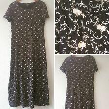 Vtg 90s Laura Ashley Black Floral Full Length Cotton Grunge Dress Large 16 - 18