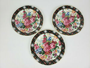 Vintage Ralph Lauren Wedgwood Hampton Floral Salad/Dessert Plates Set of 3 Mint