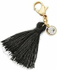 Thalia Sodi Gold-tone Black Wisp Tassel Lobster Clip-on Gold Charm Dj29