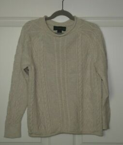 Boy's J.Crew Crewcuts Always Ivory Cable Knit Roll Neck Sweater Size 8