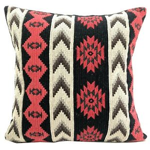 Ethnic Cotton Pillow Cover Black 40 x 40 cm Dhurrie Loom Ikat Cushion Cover 1 Pc