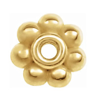 5mm 18K SOLID Yellow Gold Milgrain Floral Bali Bead Spacer Roundel USA MADE