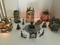 2003 37 Piece Fiber Optic Victorian Village Set Grandeur Noel (NOT COMPLETE)