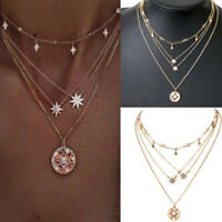 Women Multilayer Gold Choker Star Crystal Chain Pendant Necklace Charm Jewelry