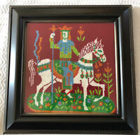 "Vintage Finished Framed Needlepoint Picture Knight Horse Fairytale 13.5"" x 13.5"""