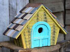 "Birdhouses - ""Devonshire"" Wooden Birdhouse - Yellow - Garden Decor"