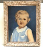"Large Vintage Framed Oil Painting Portrait Of Young Girl"" 20""x16"""