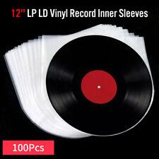100pcs Antistatic Clear Plastic Cover Inner Sleeves For 12'' LP LD Vinyl Record