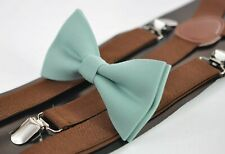 Sage Green Cotton Bow tie + Brown Elastic Suspenders Braces for Men Youth or Boy