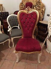 Sedia Trono In Foglia Oro Con Rivestimento Bourdeaux
