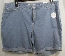 Size 18 Croft&Barrow Womens Pinstripe Stretch Shorts Mid Rise Relaxed NWT $32