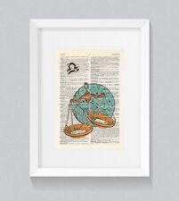 Libra Zodiac Astrology Starsign Vintage Dictionary Book Print Art