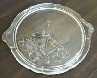 Mikasa Holiday Bells Etched Crystal Glass Round Cake Plate Platter Christmas
