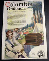 1918 original Columbia Grafonola Ad Music Record Player Sealpx Underwear
