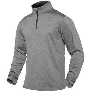 Men's Long Sleeve T-Shirt 1/4 Zip Up Sport Fleece Pullover Winter Warm Work Tops