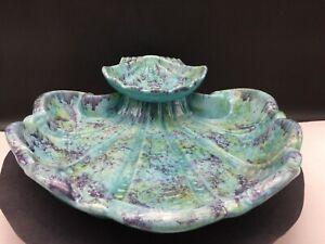 Enchanto Co~Ceramic~Calif USA~Mid-Century~Clam Shell~Chip & Dip Server