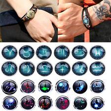 Hot Unisex 12 Constellation Zodiac Round Leather Bangle Bracelet Fashion Jewelry