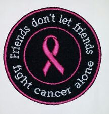 FRIENDS FIGHT CANCER MOTORCYCLE BIKER EMBROIDERED VEST PATCH BREAST CANCER BLK