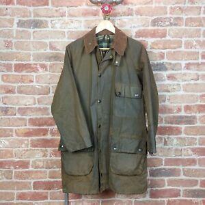 BARBOUR Vintage Mens Unisex Wax Jacket Two Crest Solway Zipper Green M/L 80s