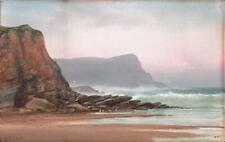 JAMES COAD Antique Gouache Painting PORTH HEADLAND NEWQUAY c1930 SEASCAPE