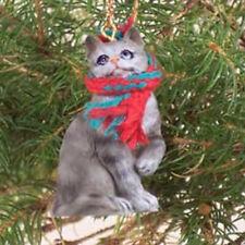 Silver Shorthair Tabby Cat Tiny One Miniature Christmas Ornament