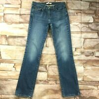 """Levis 505 Womens Jeans size 8 Long Tall x34""""in Dark Wash Straight Cotton Stretch"""