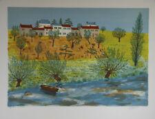 Maurice LOIRAND- Lithographie originale signée-Village au bord de l'eau