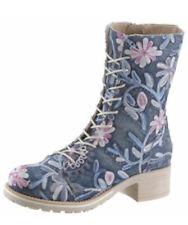 NEU BRAKO Kurz Stiefel Stiefelette Flower Blumen bestickt blau GR 39 mit RV