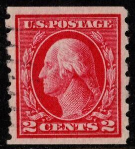 1912 US Sc #413 - 2c Washington Flat Plate Coil Wmk 190, P 8-1/2 Vert, CV $50.00