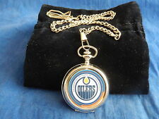 EDMONTON OILERS ICE HOCKEY NHL CHROME POCKET WATCH WITH CHAIN (NEW)