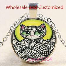 Vintage Cute Cat Cabochon Tibetan silver Glass Chain Pendant Necklace #3532