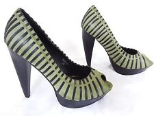 "GOMAX - MINA-01 - Women's Green Pumps with Black Strips, 3"" Heels - Size 10M"