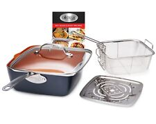 Gotham Steel Ti-Cerama Copper Deep Square Pan, 4 Piece Set - As Seen on TV
