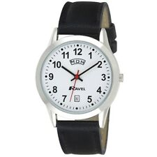 Ravel Gents Day Date Watch With Black Strap & Bold Number White Face RO706