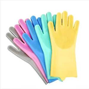 2 in1 Rubber Cleaning Glove Dish Washing Gloves Scrubber Cleaning Scrubbing UK