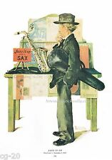 Norman Rockwell print 'JAZZ IT UP' 1929 musical saxophone violinist sexy
