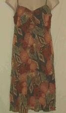 MARKS & SPENCER PER UNA Brown/Rust Floral Print Sun Dress -  UK 14r US 12r