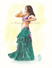 Exotic Bellydancer Gypsy fantasy renfest watercolor art artwork Brandy Woods