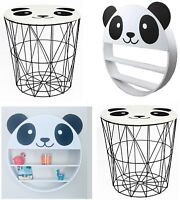 Panda Design Black Metal Wire Side Table Storage Basket & Wooden Wall Unit Shelf